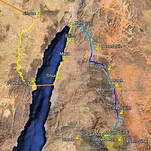 From the crossing to Sinai